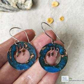 blue patina hoop earrings