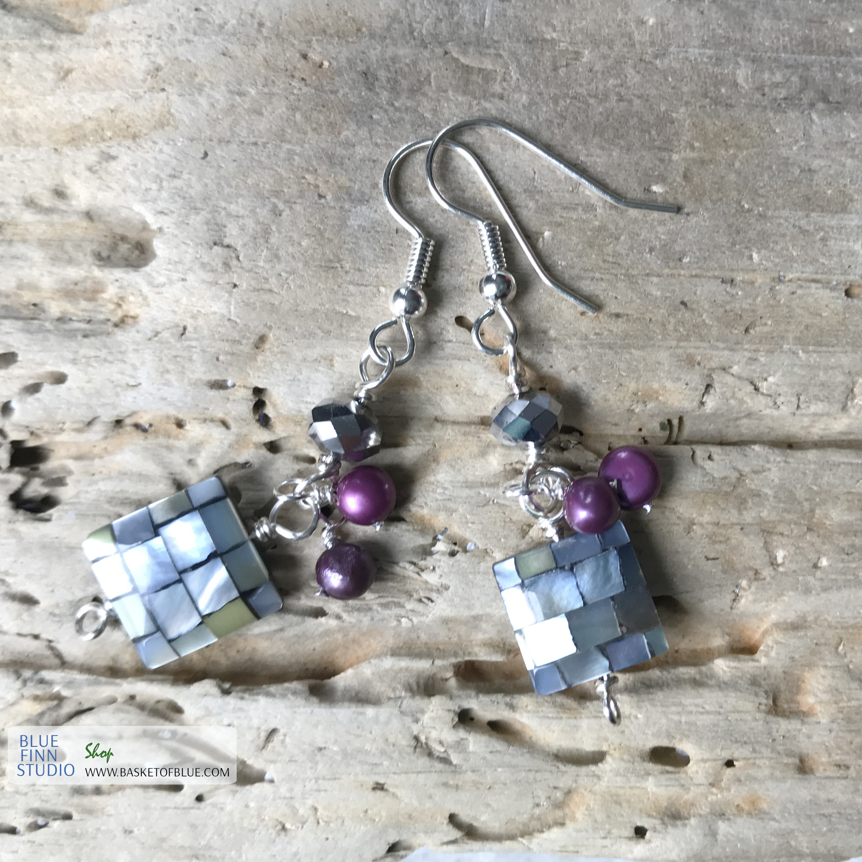 disco earrings mother of pearl dangle