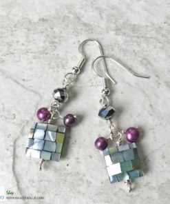 disco earrings mother of pearl dangle