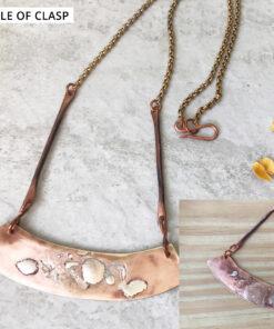 mixed metal bronze bar necklace