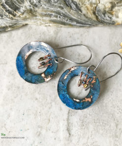 copper blue patina verdigris boho hoop earrings