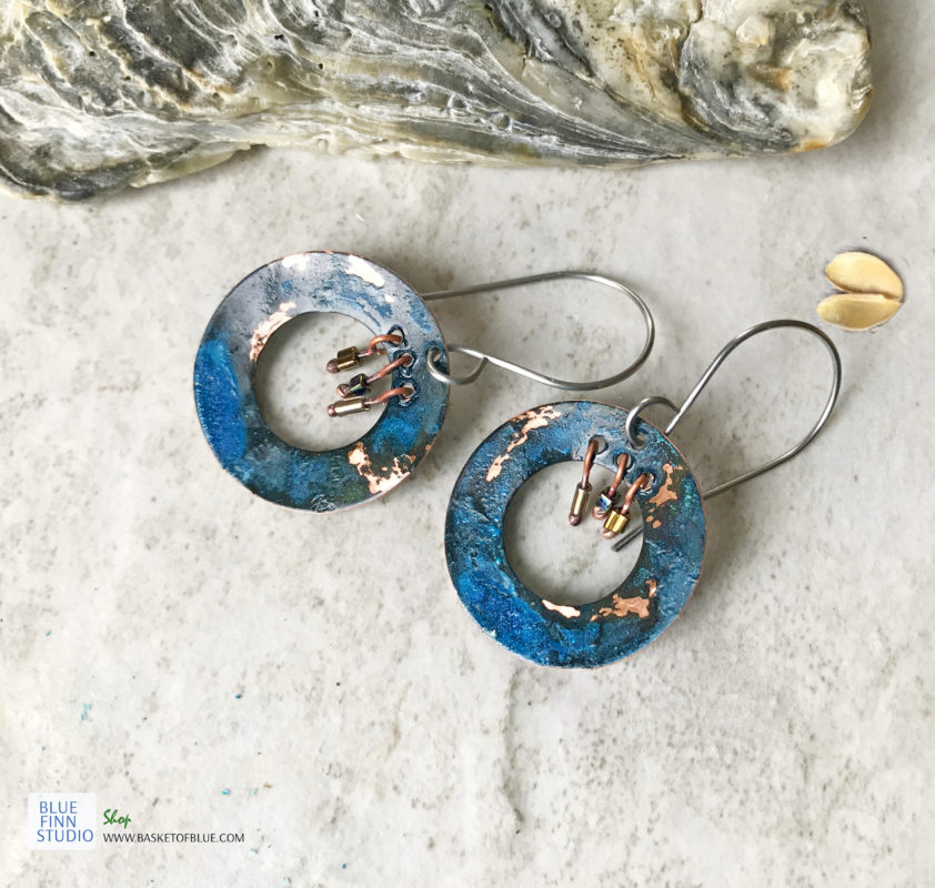 copper blue patina verdigris boho hoop earrings