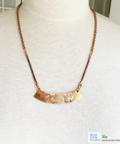 mixed metal bronze bar necklace