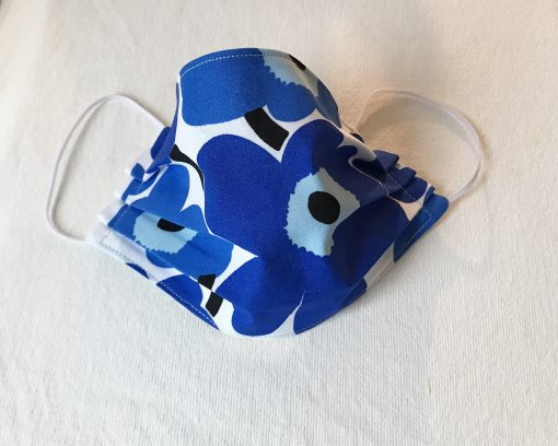 Marimekko Blue Poppy Fabric Face Mask