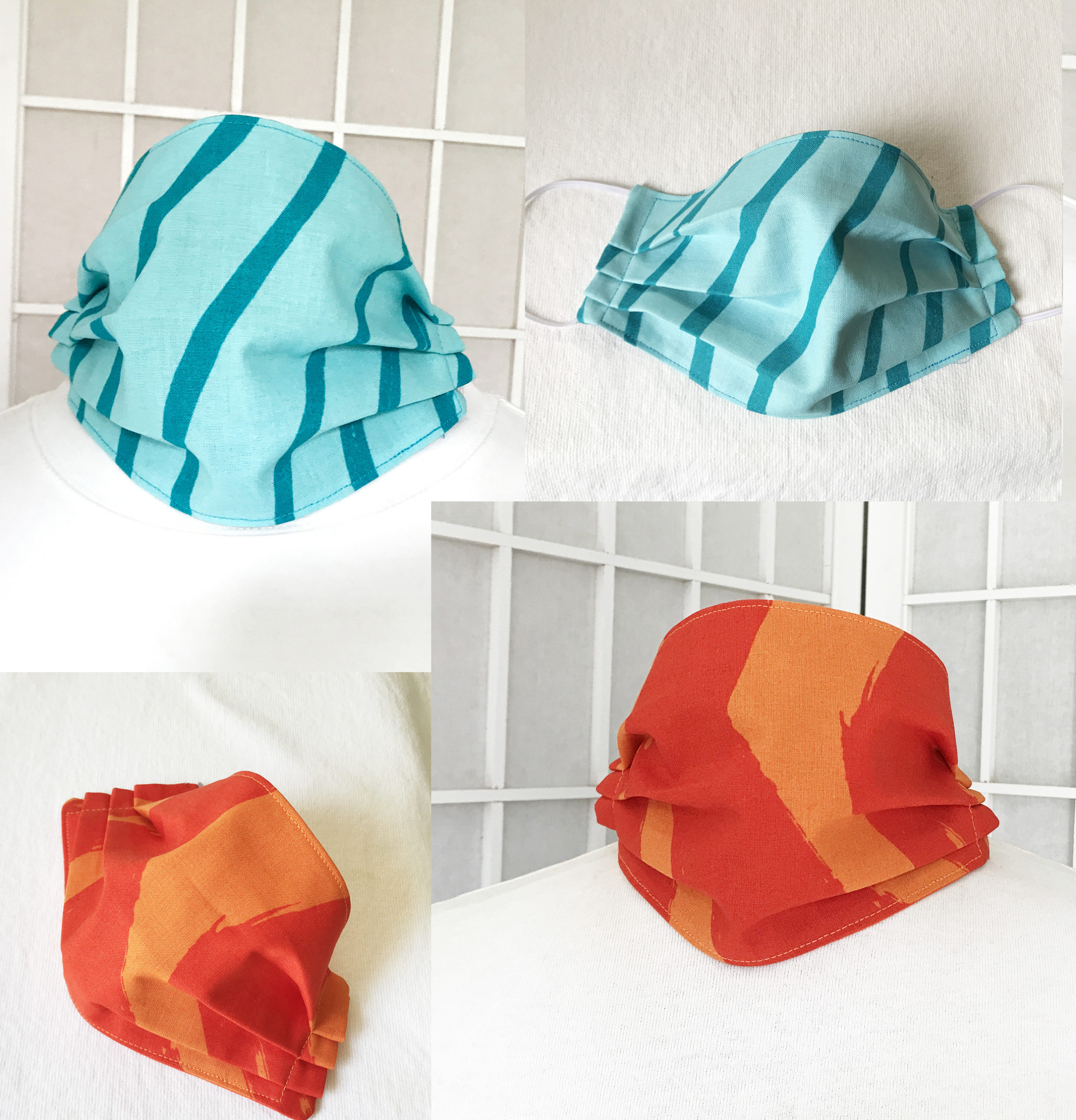 Marimekko fabric face mask Silkkikuikka blue or orange wave