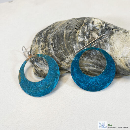 verdigris copper patina hoop earrings large circle