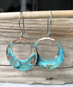 copper patina large hoop verdigris earrings