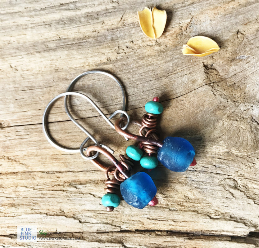 blue recycled glass earrings