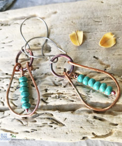 copper boho hoop earrings