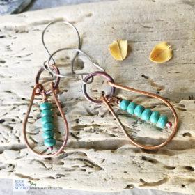 copper boho hoop earrings