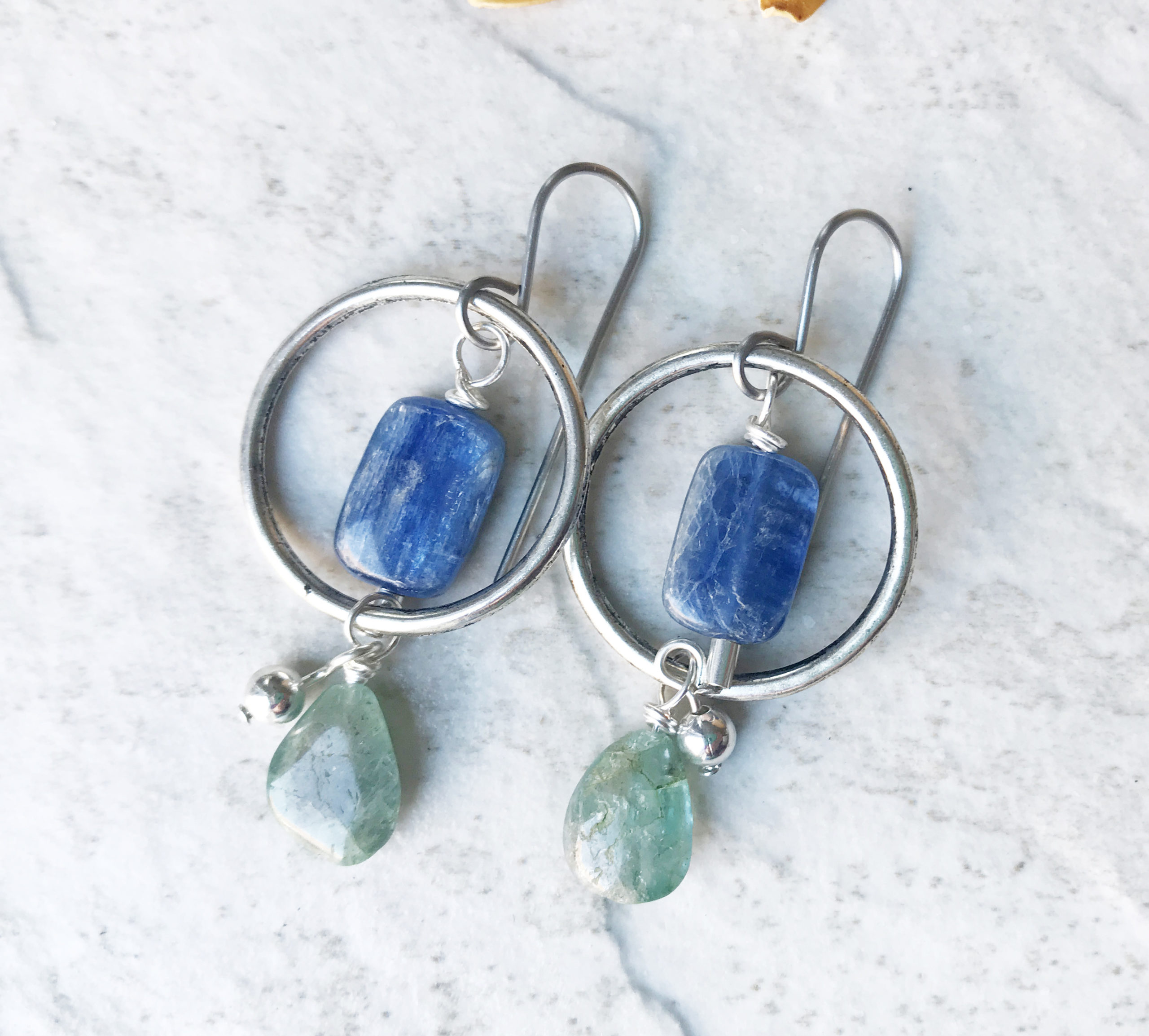kyanite hoop earrings