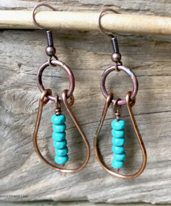 copper oval hoop earrings