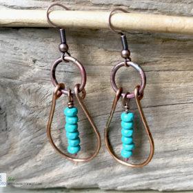 copper oval hoop earrings