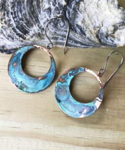 copper patina large hoop verdigris earrings