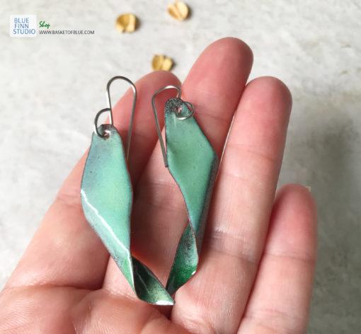 enameled copper seedpod earrings tree of heaven green