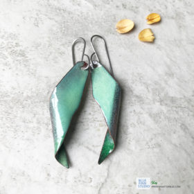 enameled copper seedpod earrings tree of heaven green
