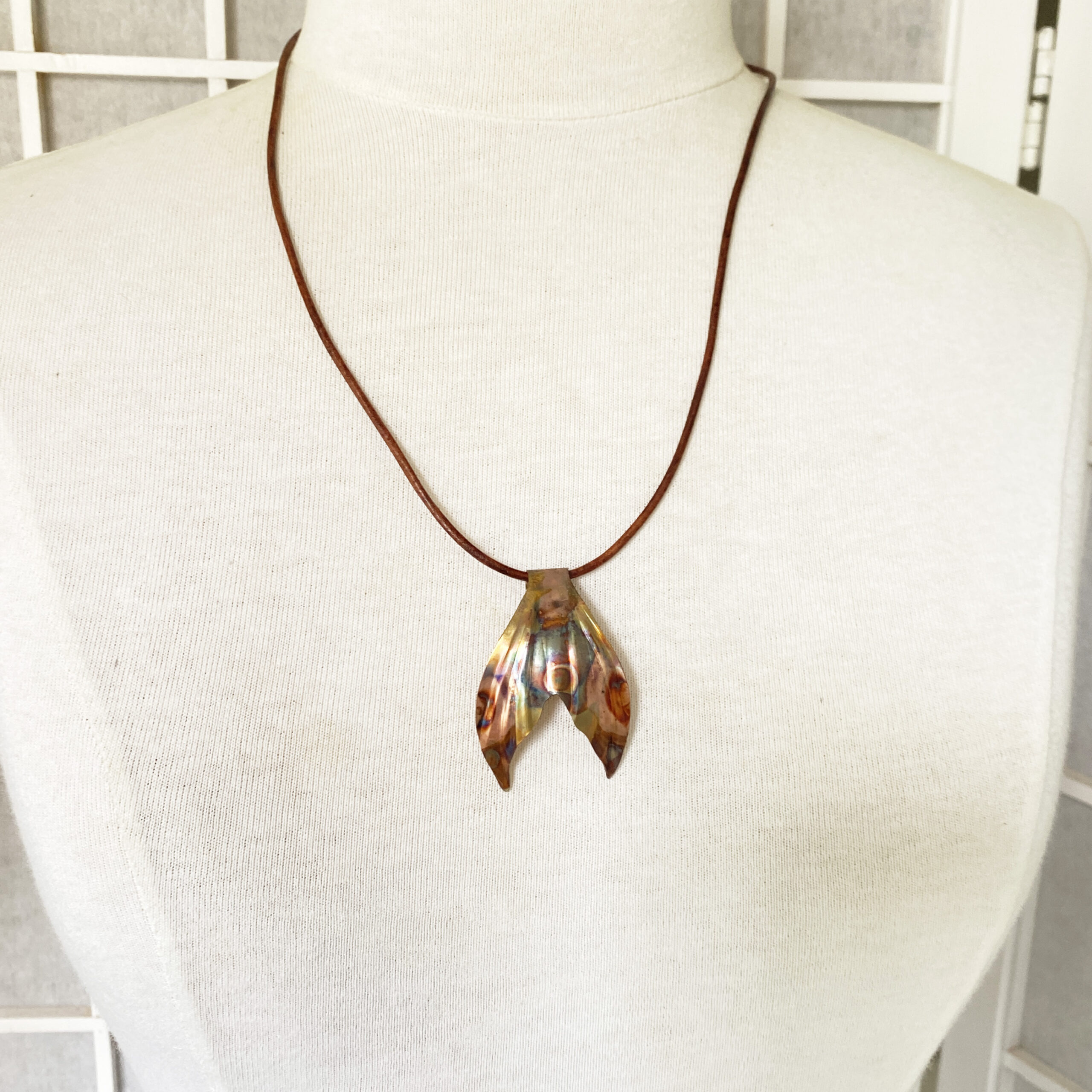 flame painted copper mermaid fish tail pendant