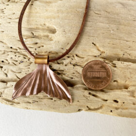 copper whale tail flame painted pendant