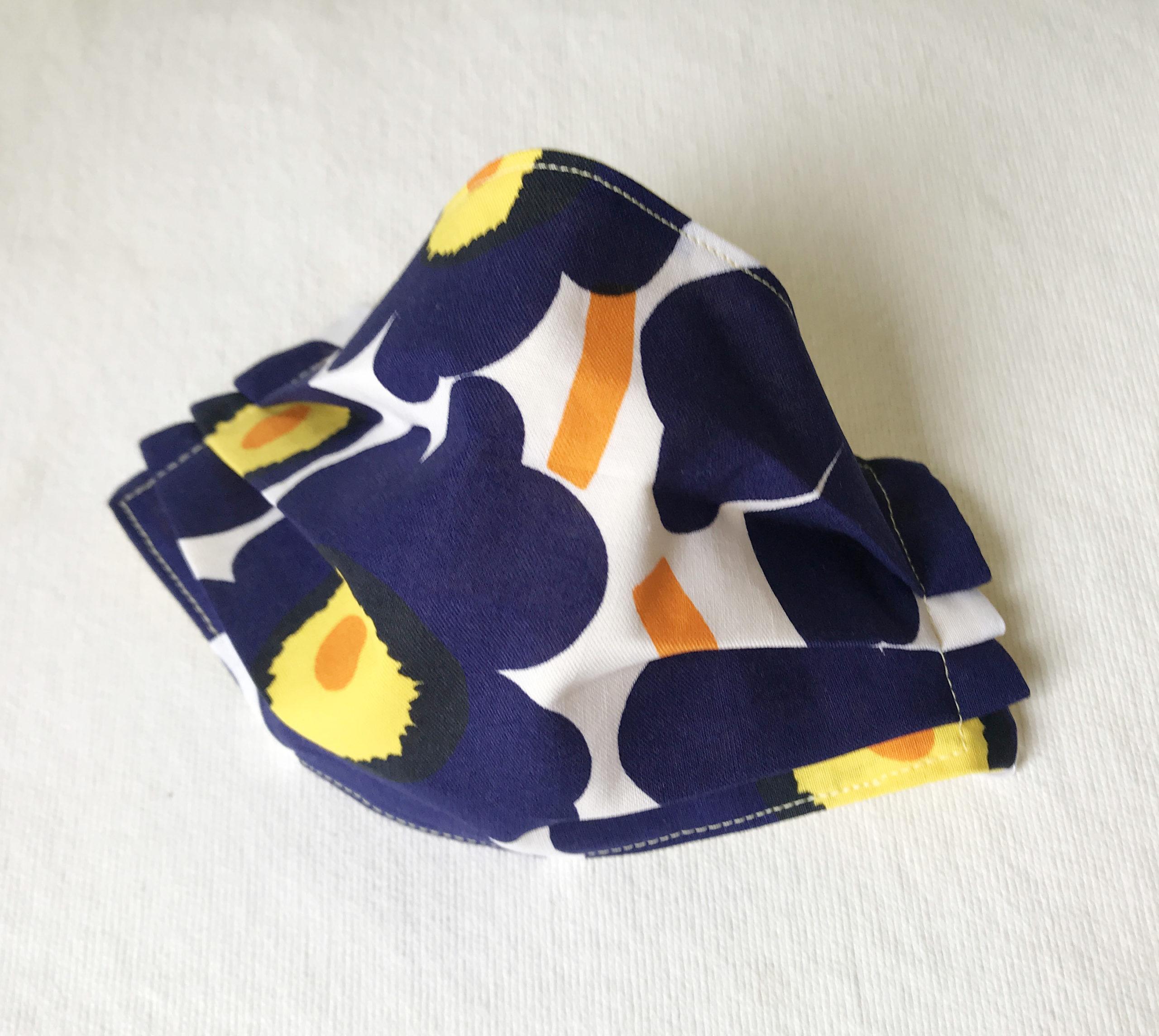 Marimekko navy blue poppy face mask Unikko