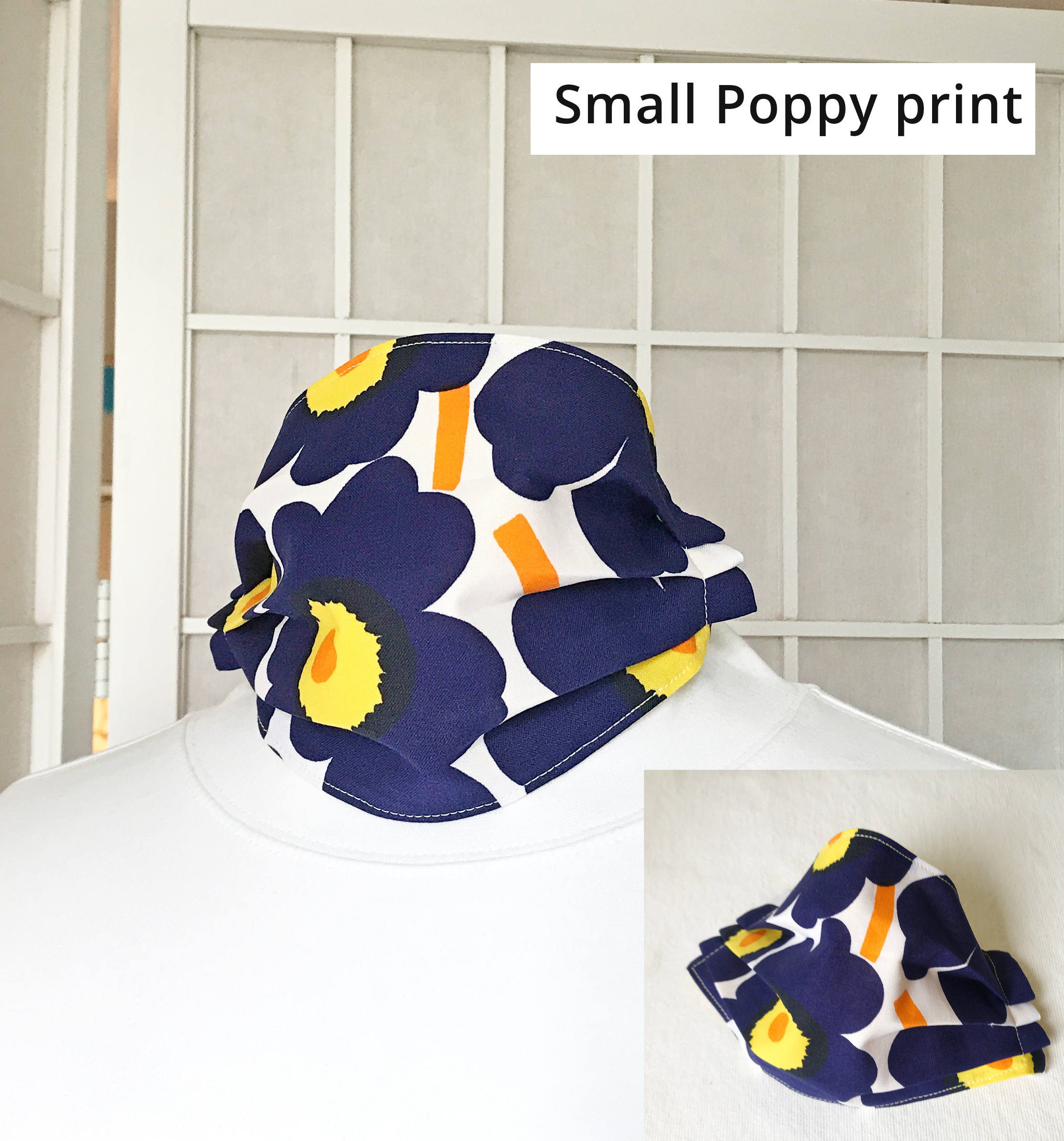 Marimekko navy blue yellow poppy face mask Unikko
