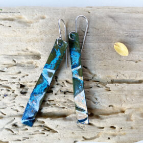 long blue patina copper earrings