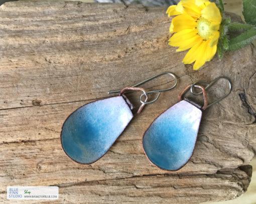 blue water pod earrings enameled copper