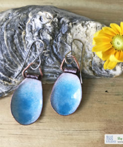 blue water pod earrings enameled copper