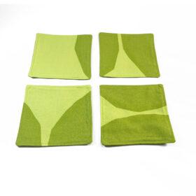 marimekko fabric coasters kivet lime green cotton