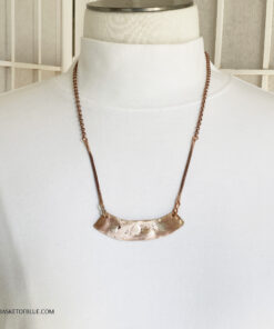 mixed metal bronze and silver bar necklace