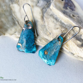 blue green verdigris copper patina triangle earrings
