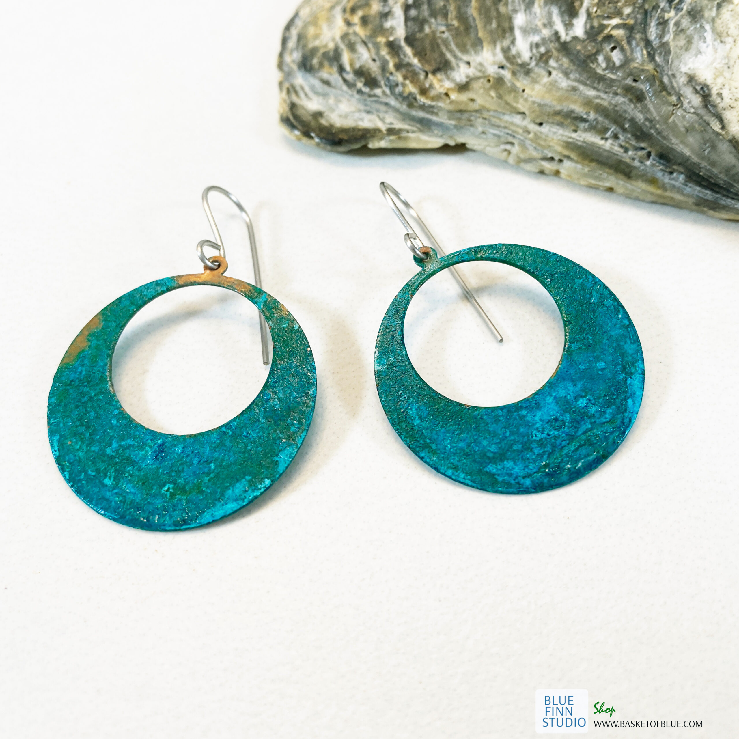 blue green patina large hoop earrings