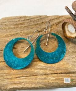 blue green patina large hoop earrings