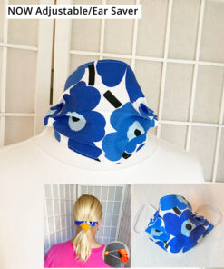 marimekko blue poppy face mask cotton washable with adjustable elastic