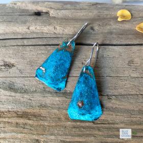 blue green verdigris copper patina triangle earrings