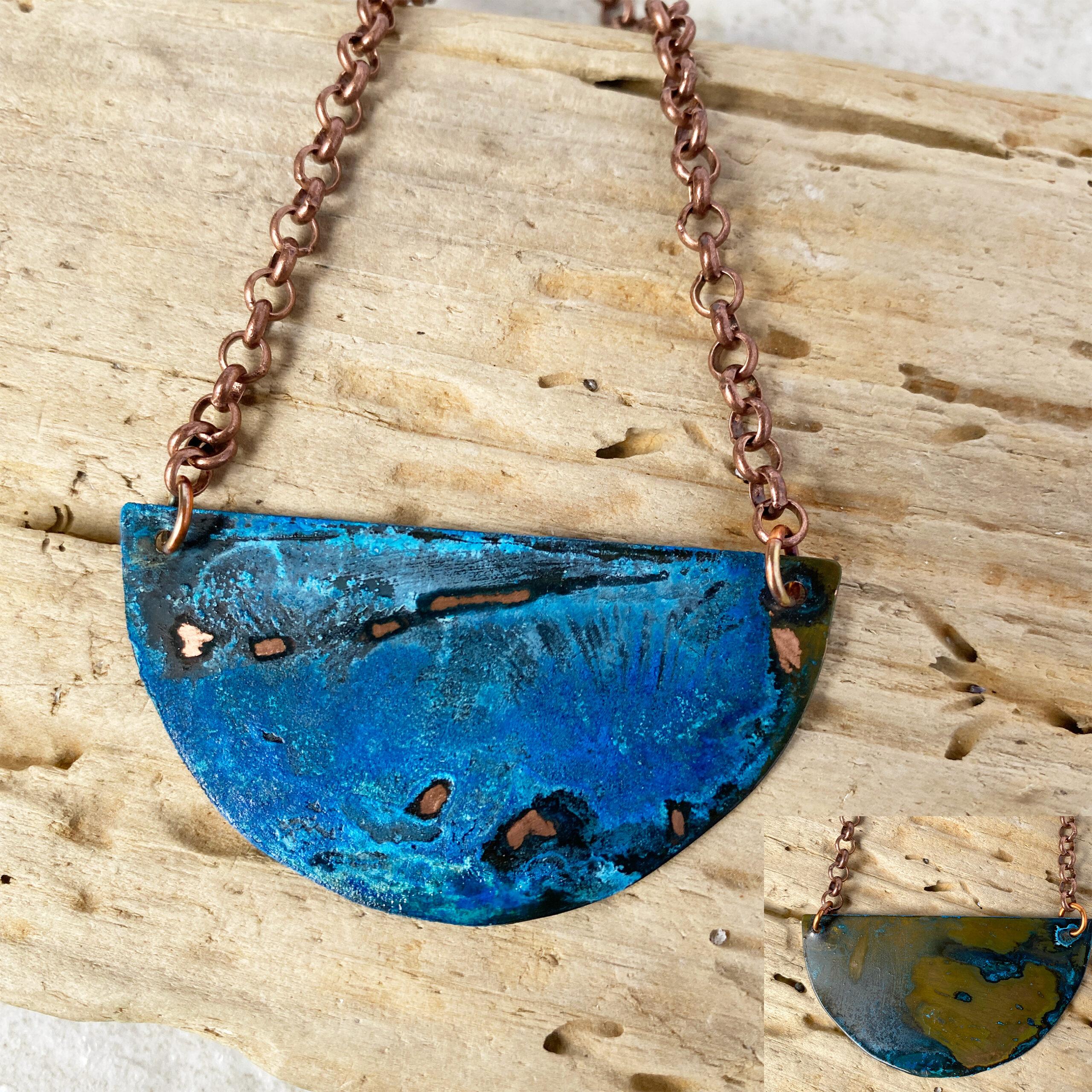half moon patina necklace