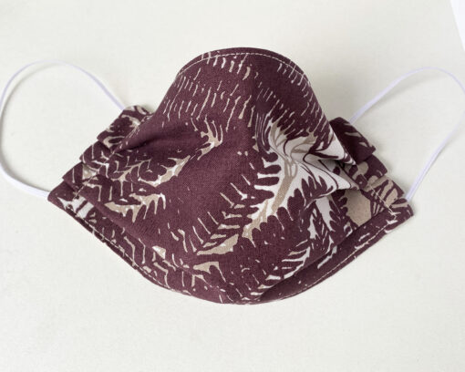 marimekko fabric face mask brown leaf Guada