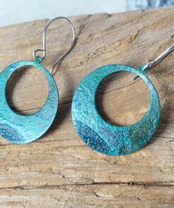 green copper patina large hoop earrings