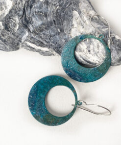 green copper patina large hoop earrings