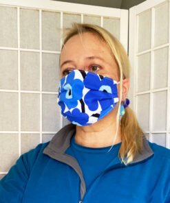 marimekko blue poppy unikko fabric face mask