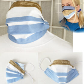 marimekko fabric face mask matkalla maalle blue