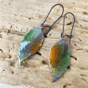 enamel leaf earrings colorful enameled copper fall leaves