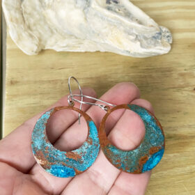 copper patina green verdigris hoop earrings