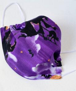 Halloween witch fabric face mask purple black cat
