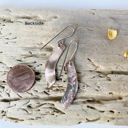 mixed metal bronze bar earring