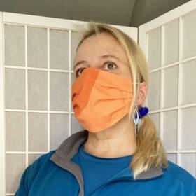 marimekko kivet orange fabric face mask