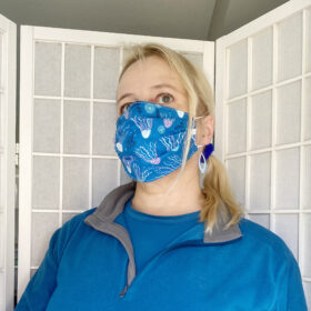 blue ocean jellyfish fabric facce mask