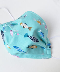 aqua blue fish fabric face mask