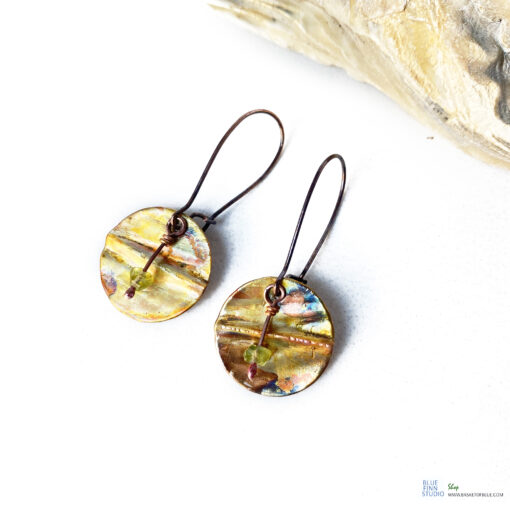 copper round disc dangle with peridot drop earrings