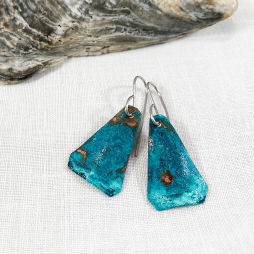green copper patina triangle earrings