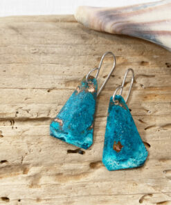 green copper patina verdigris triangle earrings
